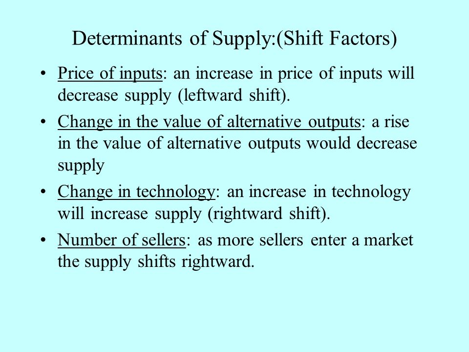 Determinants of Supply:(Shift Factors) Price of inputs: an increase in price of inputs will decrease supply (leftward shift).