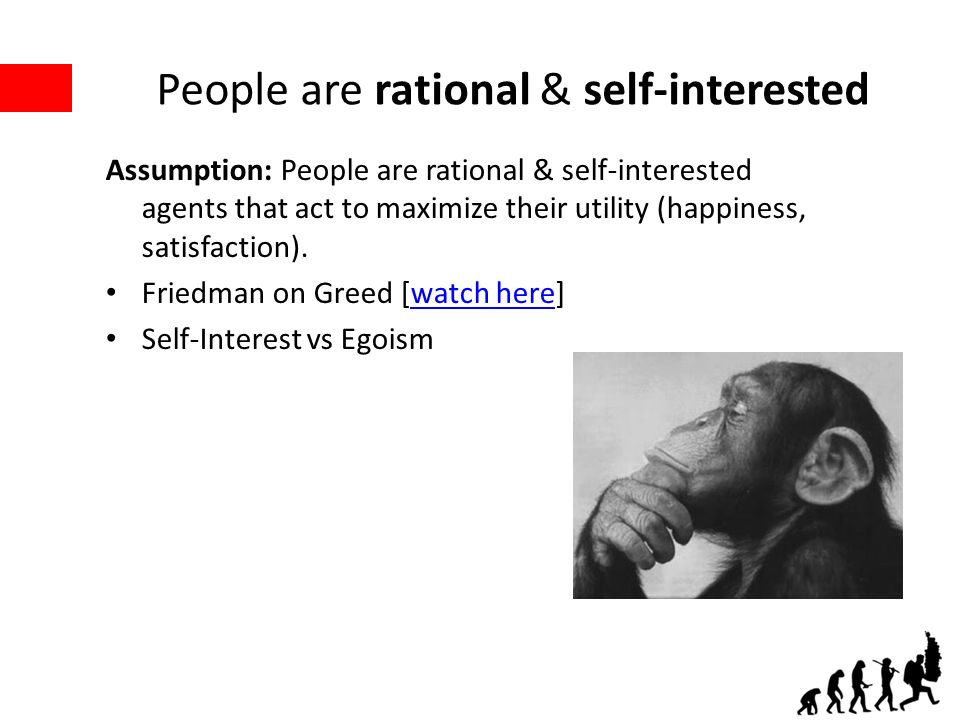 People are rational & self-interested Assumption: People are rational & self-interested agents that act to maximize their utility (happiness, satisfaction).