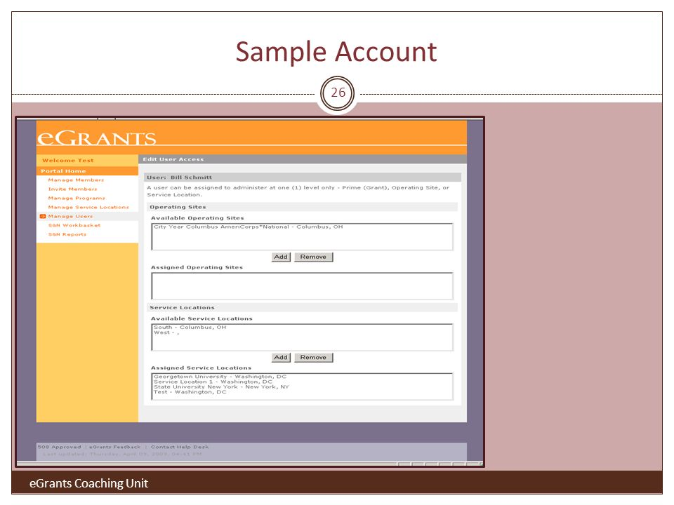 Sample Account 26 eGrants Coaching Unit