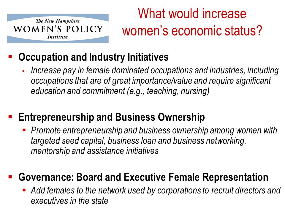 What would increase womens economic status.