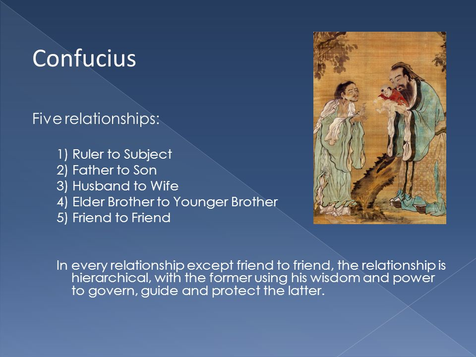 Confucius Five relationships: 1) Ruler to Subject 2) Father to Son 3) Husband to Wife 4) Elder Brother to Younger Brother 5) Friend to Friend In every relationship except friend to friend, the relationship is hierarchical, with the former using his wisdom and power to govern, guide and protect the latter.