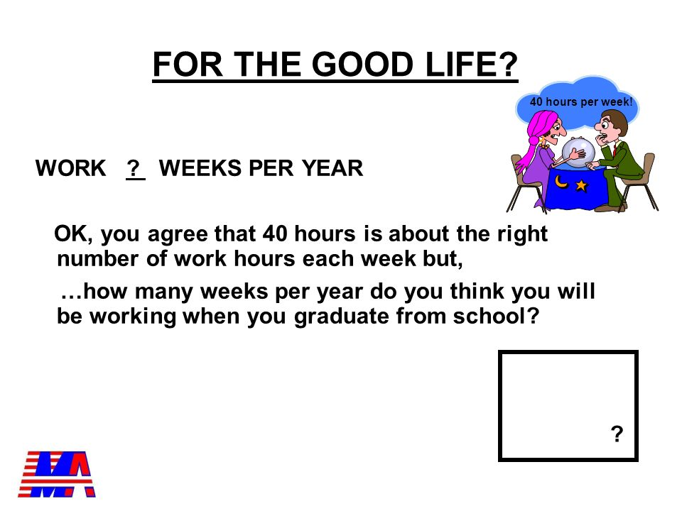 WHAT DO WE NEED FOR THE GOOD LIFE. A FULLTIME JOB MEANS I WILL WORK .