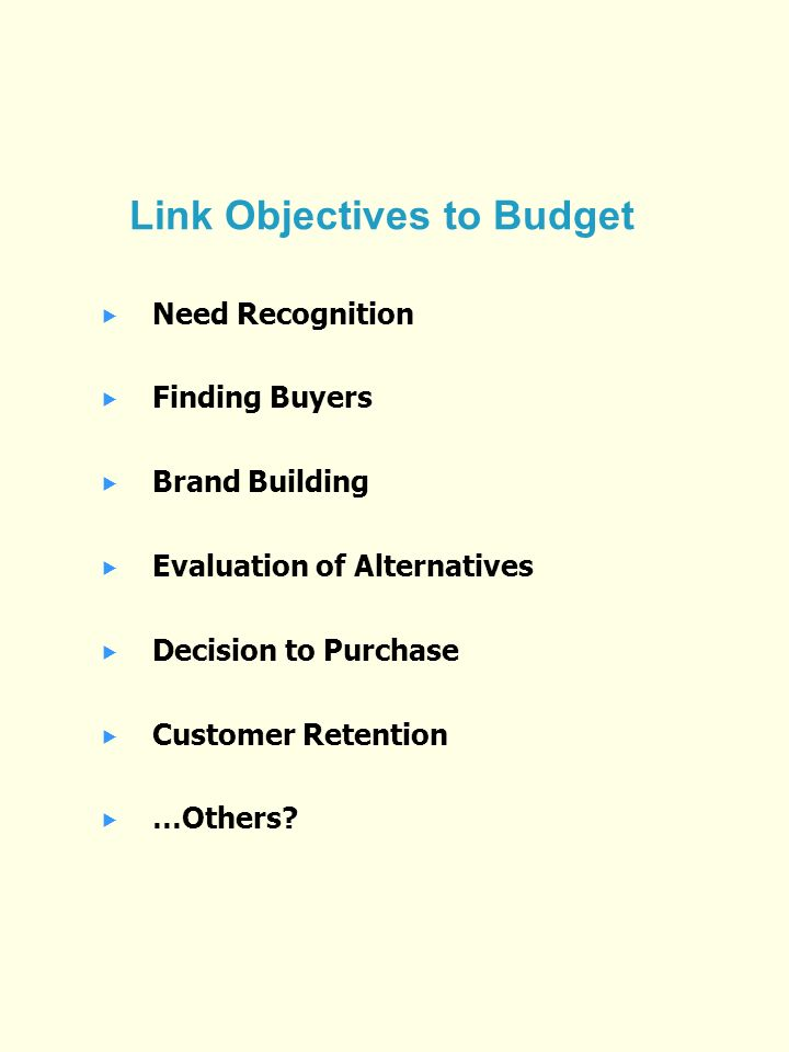 Link Objectives to Budget Need Recognition Finding Buyers Brand Building Evaluation of Alternatives Decision to Purchase Customer Retention …Others
