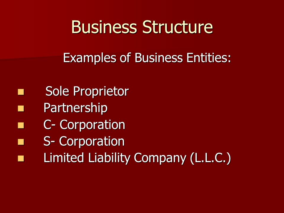 Business Structure Examples of Business Entities: Sole Proprietor Sole Proprietor Partnership Partnership C- Corporation C- Corporation S- Corporation S- Corporation Limited Liability Company (L.L.C.) Limited Liability Company (L.L.C.)