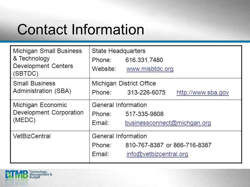 Contact Information Michigan Small Business & Technology Development Centers (SBTDC) State Headquarters Phone: 616.331.7480 Website: www.misbtdc.org Small Business Administration (SBA) Michigan District Office Phone: 313-226-6075 http://www.sba.gov Michigan Economic Development Corporation (MEDC) General Information Phone: 517-335-9808 Email: businessconnect@michgan.org VetBizCentralGeneral Information Phone: 810-767-8387 or 866-716-8387 Email: info@vetbizcentral.org