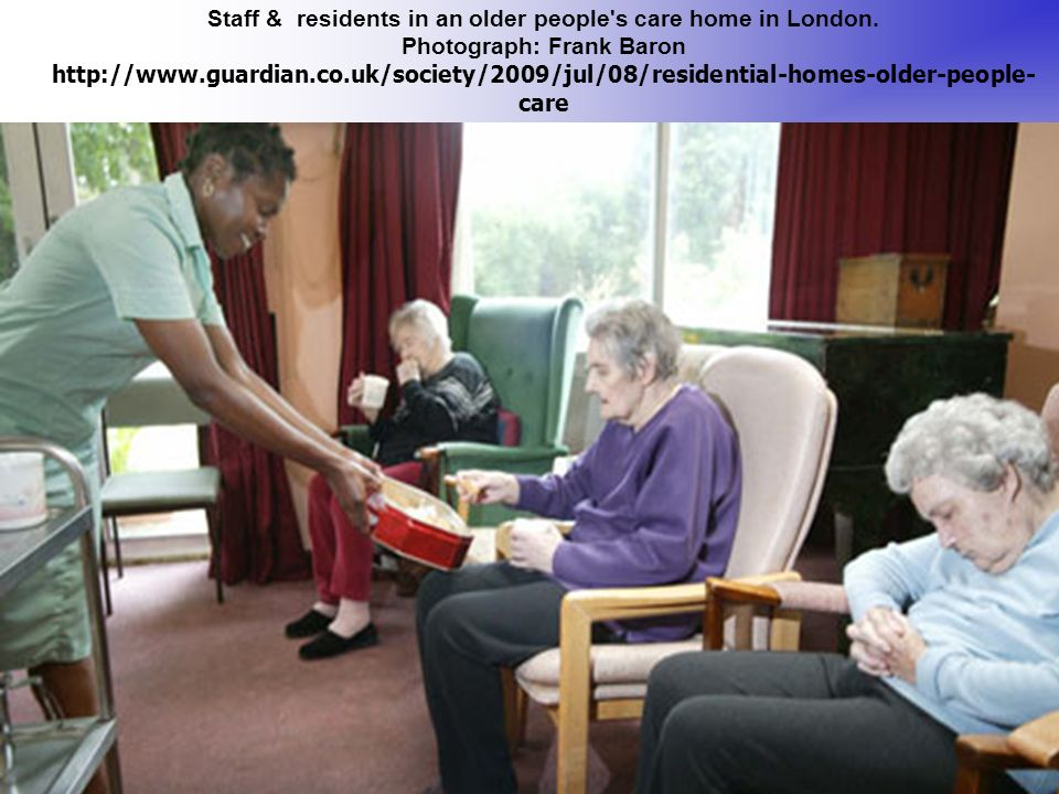 Staff & residents in an older people s care home in London.