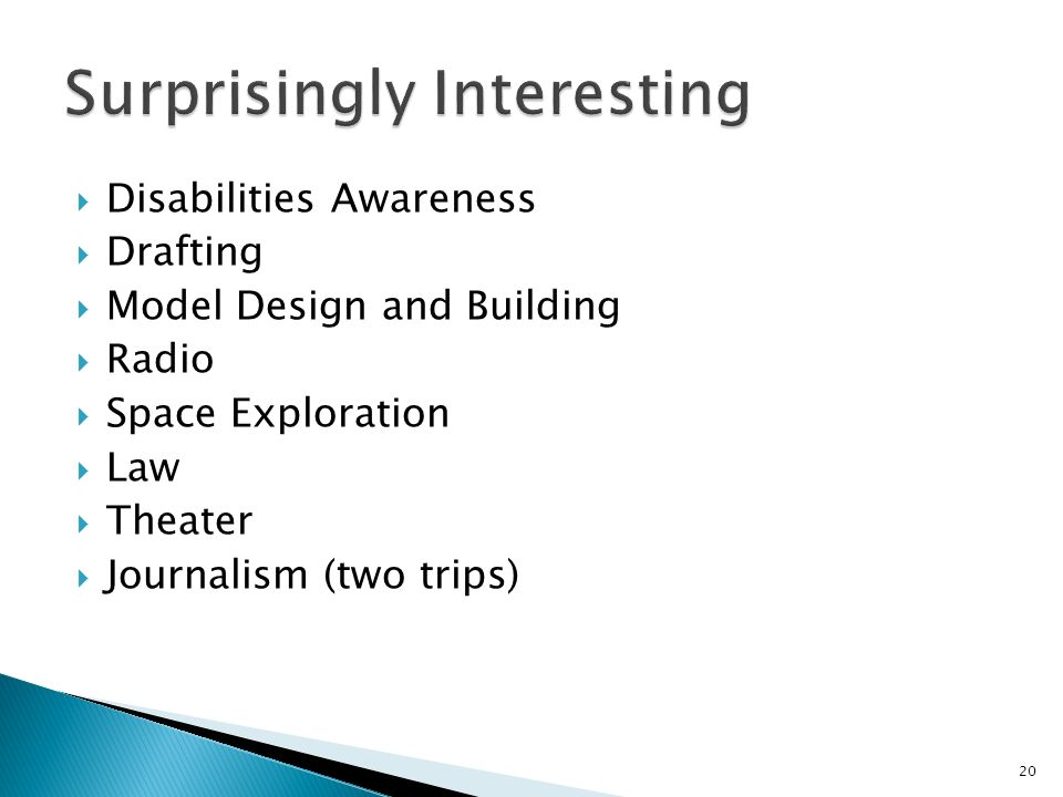 Disabilities Awareness Drafting Model Design and Building Radio Space Exploration Law Theater Journalism (two trips) 20