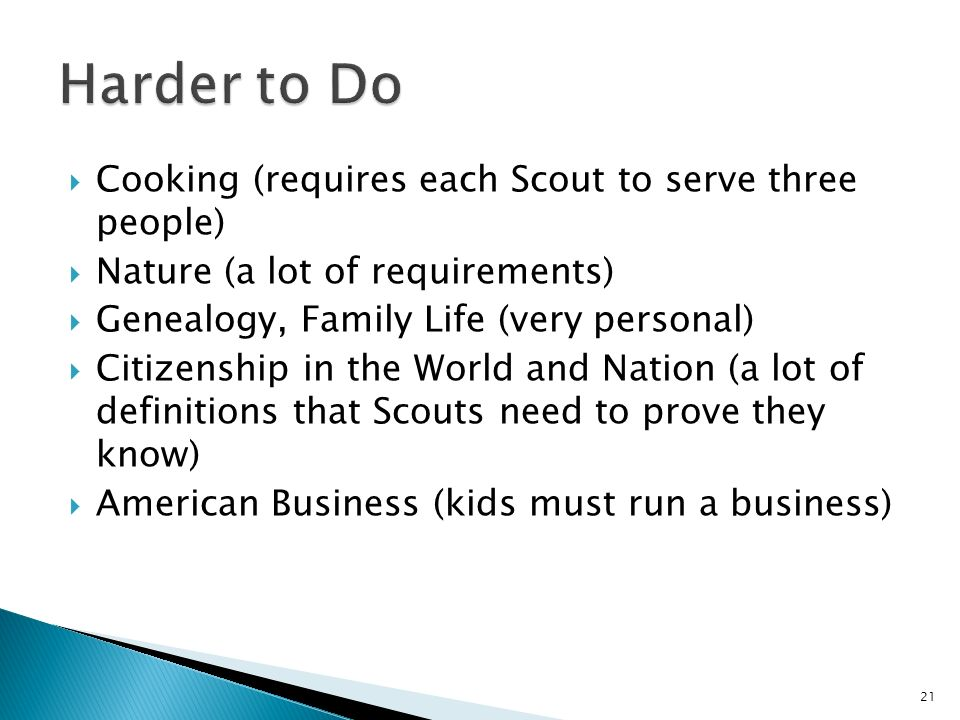 Cooking (requires each Scout to serve three people) Nature (a lot of requirements) Genealogy, Family Life (very personal) Citizenship in the World and Nation (a lot of definitions that Scouts need to prove they know) American Business (kids must run a business) 21