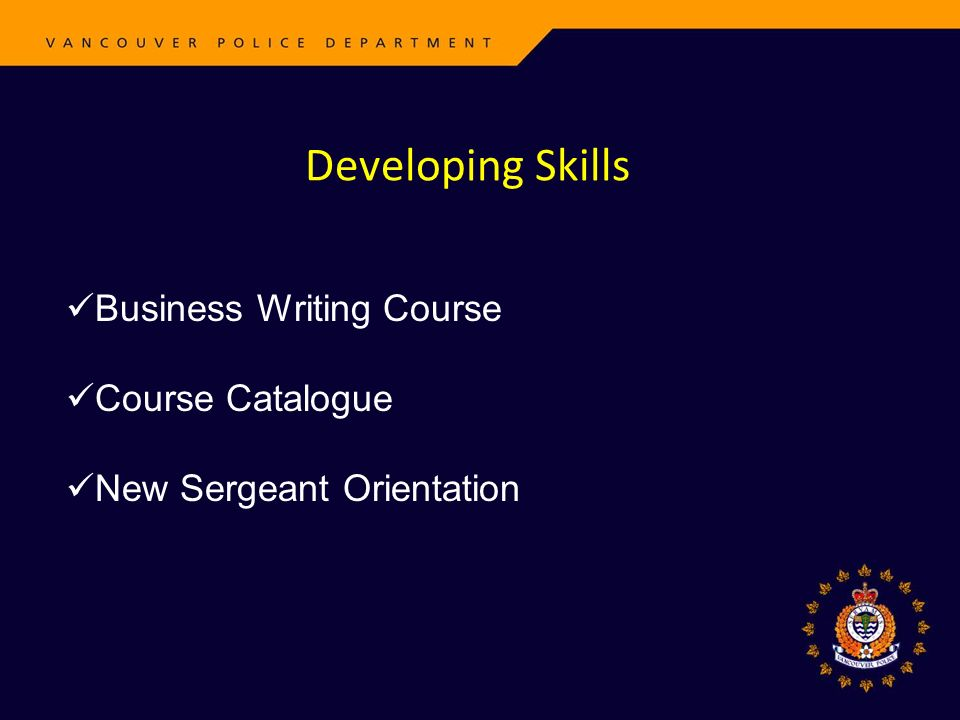 Developing Skills Business Writing Course Course Catalogue New Sergeant Orientation