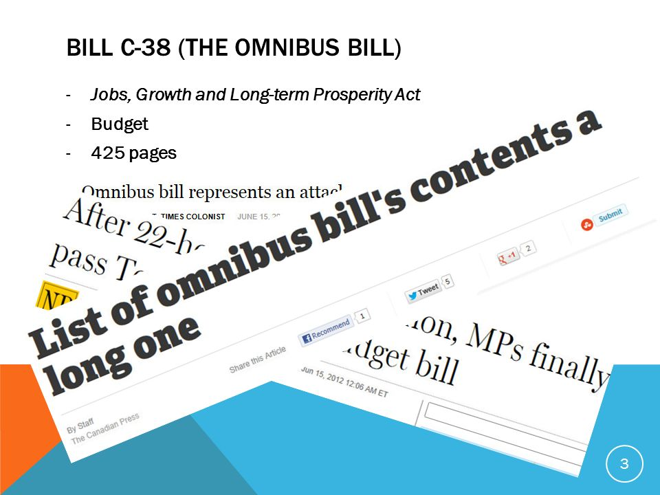 BILL C-38 (THE OMNIBUS BILL) -Jobs, Growth and Long-term Prosperity Act -Budget -425 pages 3