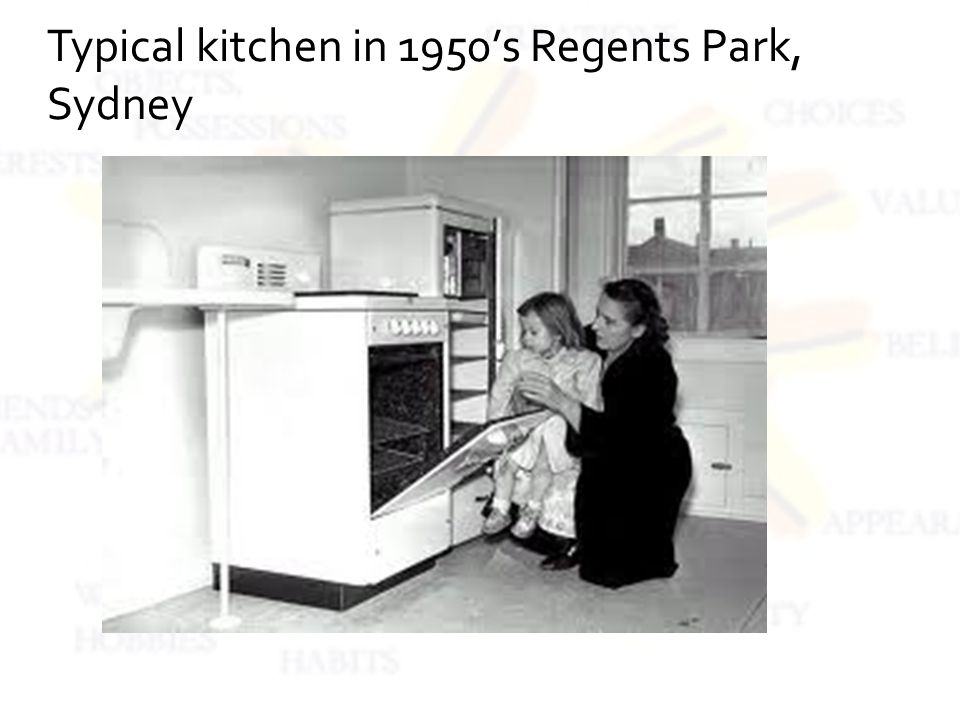 Typical kitchen in 1950s Regents Park, Sydney