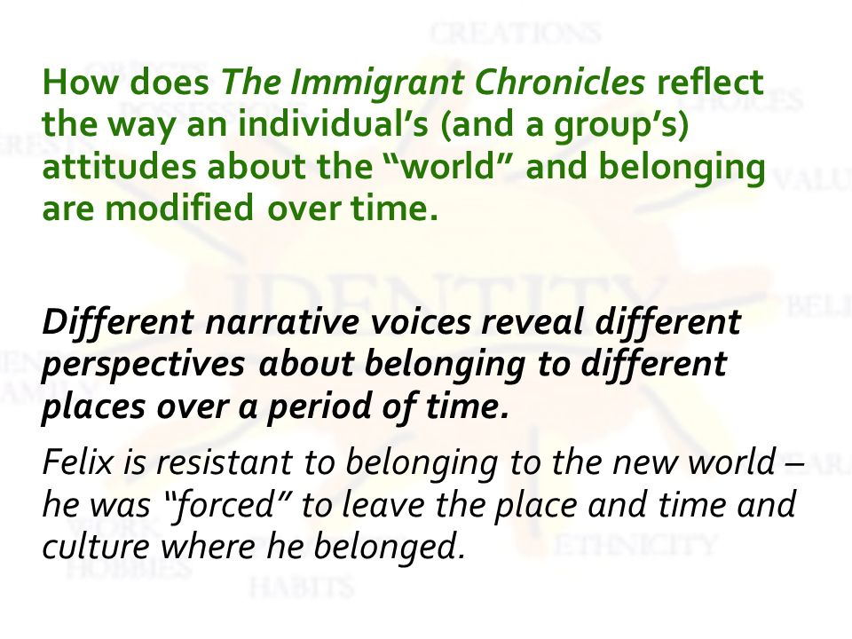 How does The Immigrant Chronicles reflect the way an individuals (and a groups) attitudes about the world and belonging are modified over time.