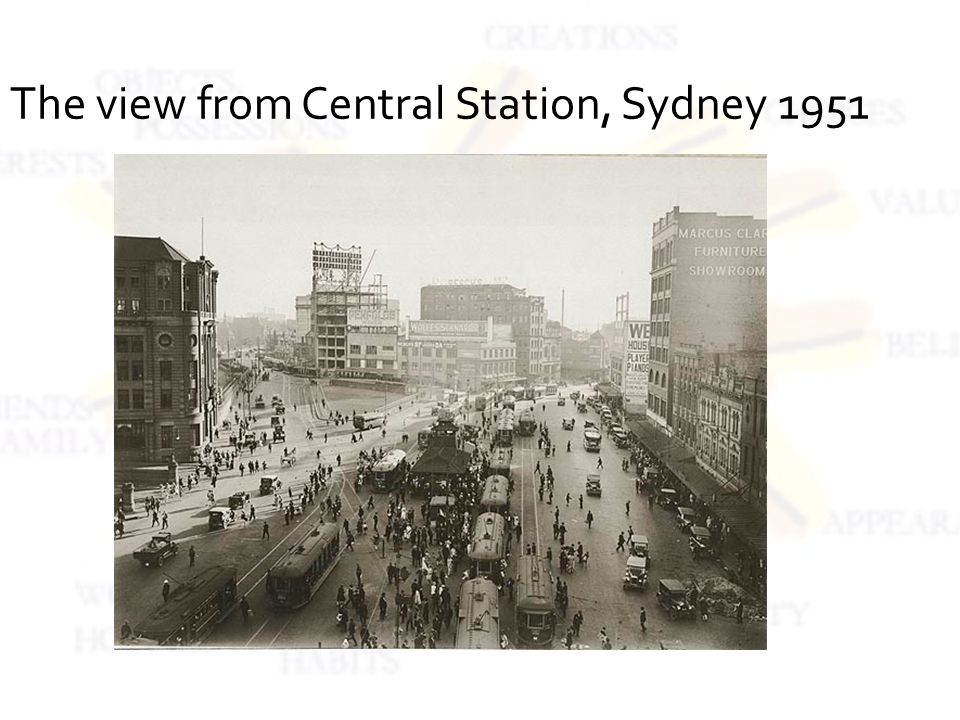 The view from Central Station, Sydney 1951