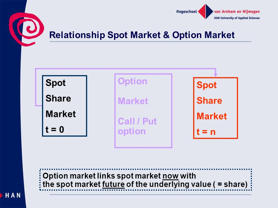 Relationship Spot Market & Option Market Spot Share Market t = 0 Spot Share Market t = n Option Market Call / Put option Option market links spot market now with the spot market future of the underlying value ( = share)