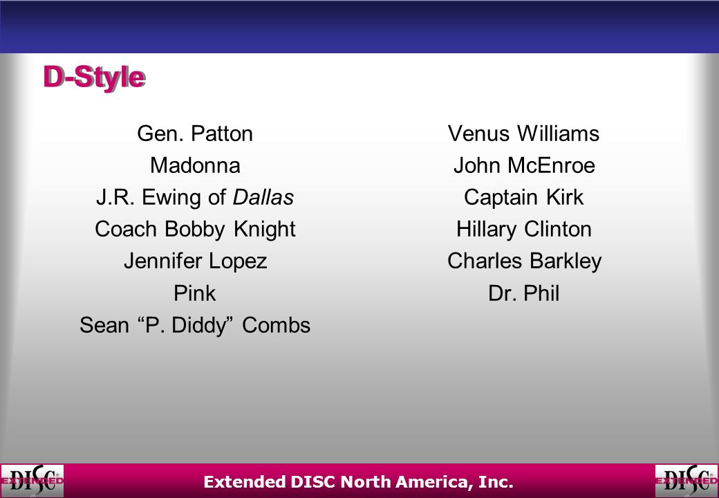 Extended DISC North America, Inc. D-Style Gen. Patton Madonna J.R.