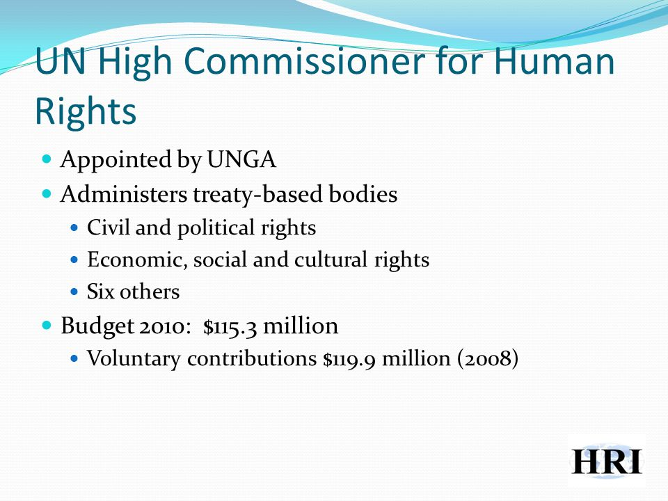UN High Commissioner for Human Rights Appointed by UNGA Administers treaty-based bodies Civil and political rights Economic, social and cultural rights Six others Budget 2010: $115.3 million Voluntary contributions $119.9 million (2008)