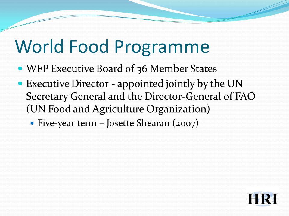 World Food Programme WFP Executive Board of 36 Member States Executive Director - appointed jointly by the UN Secretary General and the Director-General of FAO (UN Food and Agriculture Organization) Five-year term – Josette Shearan (2007)