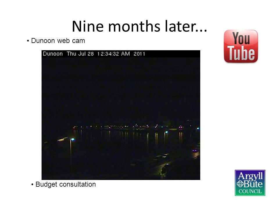 Nine months later... Dunoon web cam Budget consultation