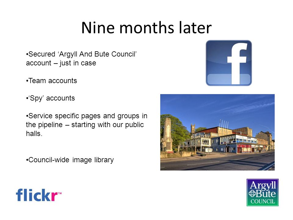 Nine months later Secured Argyll And Bute Council account – just in case Team accounts Spy accounts Service specific pages and groups in the pipeline – starting with our public halls.