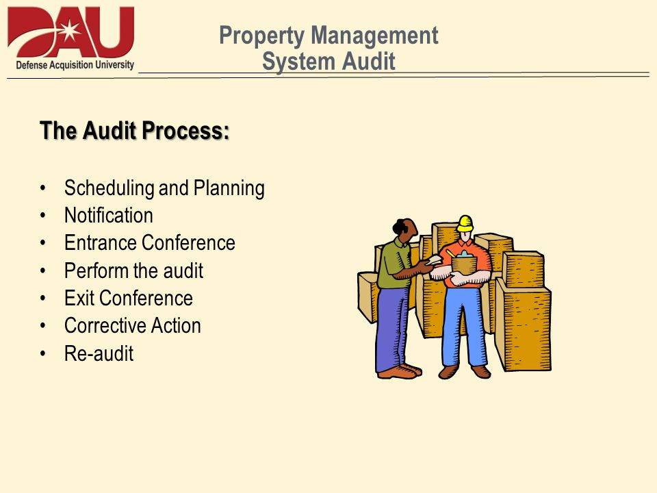 Property Management System Audit The Audit Process: Scheduling and Planning Notification Entrance Conference Perform the audit Exit Conference Corrective Action Re-audit