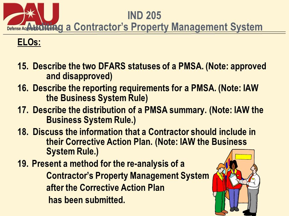 IND 205 Auditing a Contractors Property Management System ELOs: 15.
