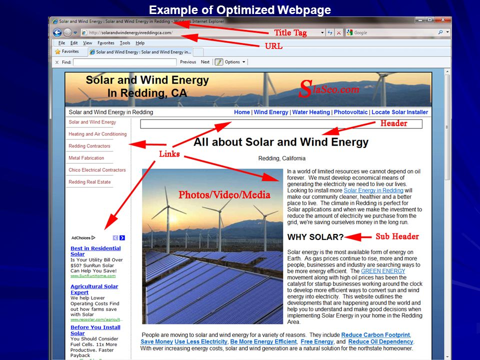 Example of Optimized Webpage