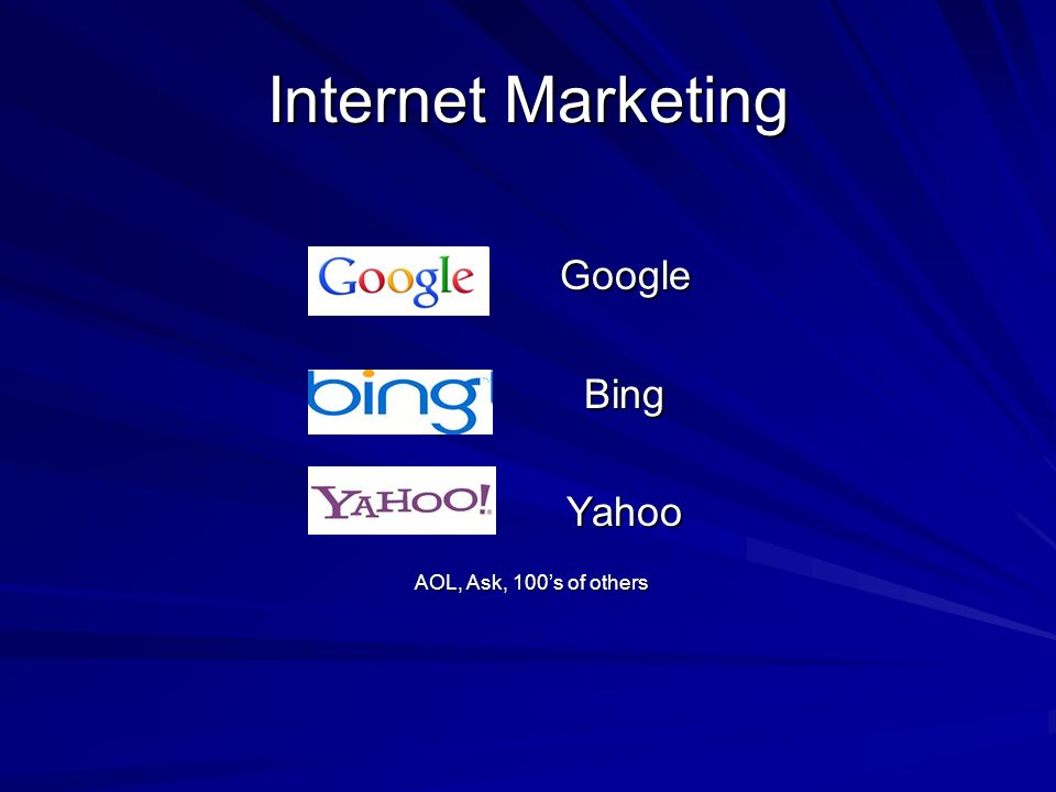 Internet Marketing GoogleBingYahoo AOL, Ask, 100s of others AOL, Ask, 100s of others