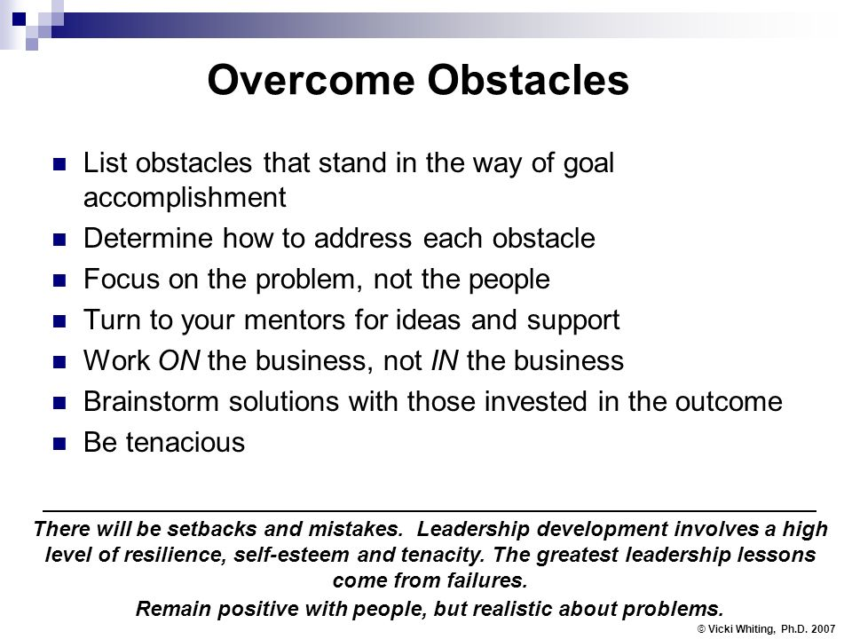 Overcome Obstacles List obstacles that stand in the way of goal accomplishment Determine how to address each obstacle Focus on the problem, not the people Turn to your mentors for ideas and support Work ON the business, not IN the business Brainstorm solutions with those invested in the outcome Be tenacious © Vicki Whiting, Ph.D.