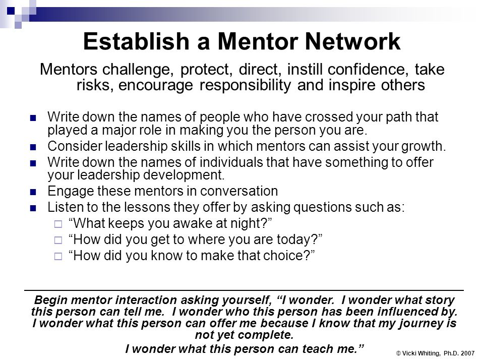 Establish a Mentor Network Mentors challenge, protect, direct, instill confidence, take risks, encourage responsibility and inspire others Write down the names of people who have crossed your path that played a major role in making you the person you are.