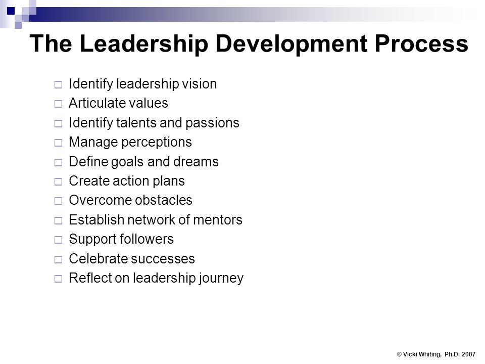 The Leadership Development Process Identify leadership vision Articulate values Identify talents and passions Manage perceptions Define goals and dreams Create action plans Overcome obstacles Establish network of mentors Support followers Celebrate successes Reflect on leadership journey © Vicki Whiting, Ph.D.