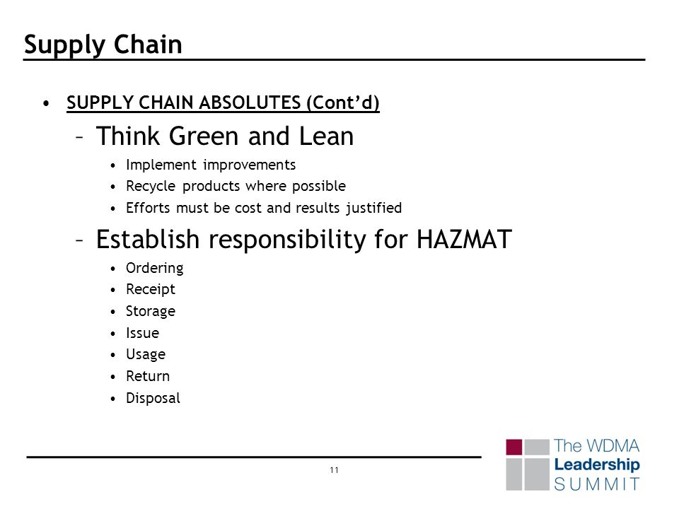 10 Supply Chain SUPPLY CHAIN ABSOLUTES (Contd) –Investigate the Production / Distribution Process.