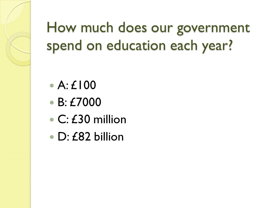How much does our government spend on education each year.