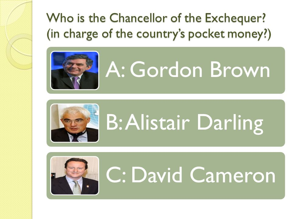 Who is the Chancellor of the Exchequer.