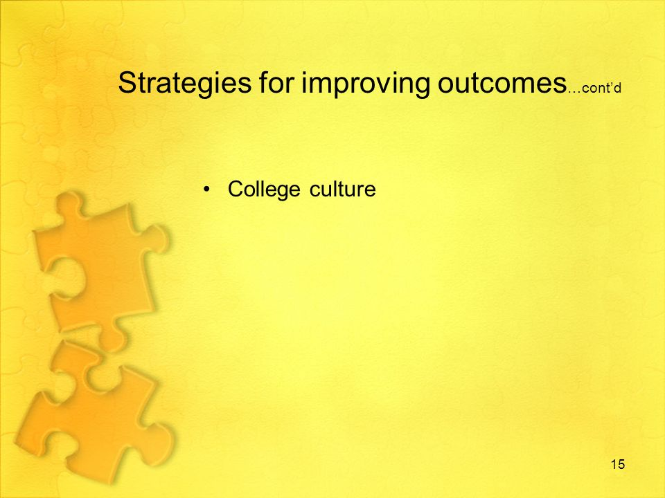 Strategies for improving outcomes …contd College culture 15