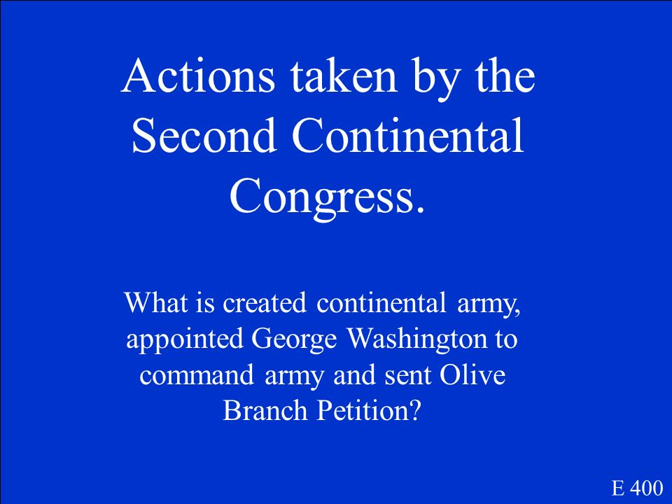 Actions taken by the First Continental Congress.