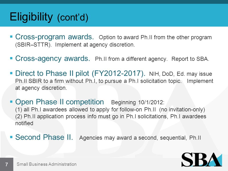 Small Business Administration Eligibility (contd) Cross-program awards.
