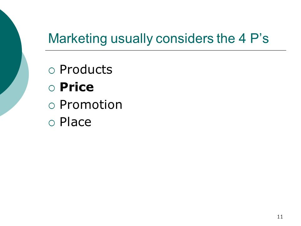 11 Marketing usually considers the 4 Ps Products Price Promotion Place