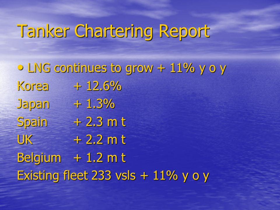 Tanker Chartering Report LNG continues to grow + 11% y o y LNG continues to grow + 11% y o y Korea % Japan+ 1.3% Spain+ 2.3 m t UK+ 2.2 m t Belgium+ 1.2 m t Existing fleet 233 vsls + 11% y o y