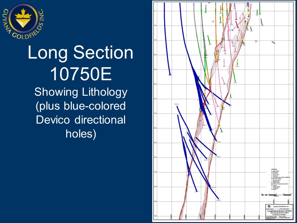 Long Section 10750E Showing Lithology (plus blue-colored Devico directional holes)