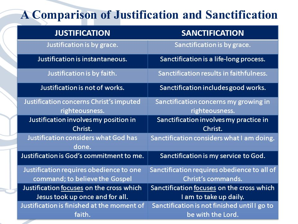 A Comparison of Justification and Sanctification