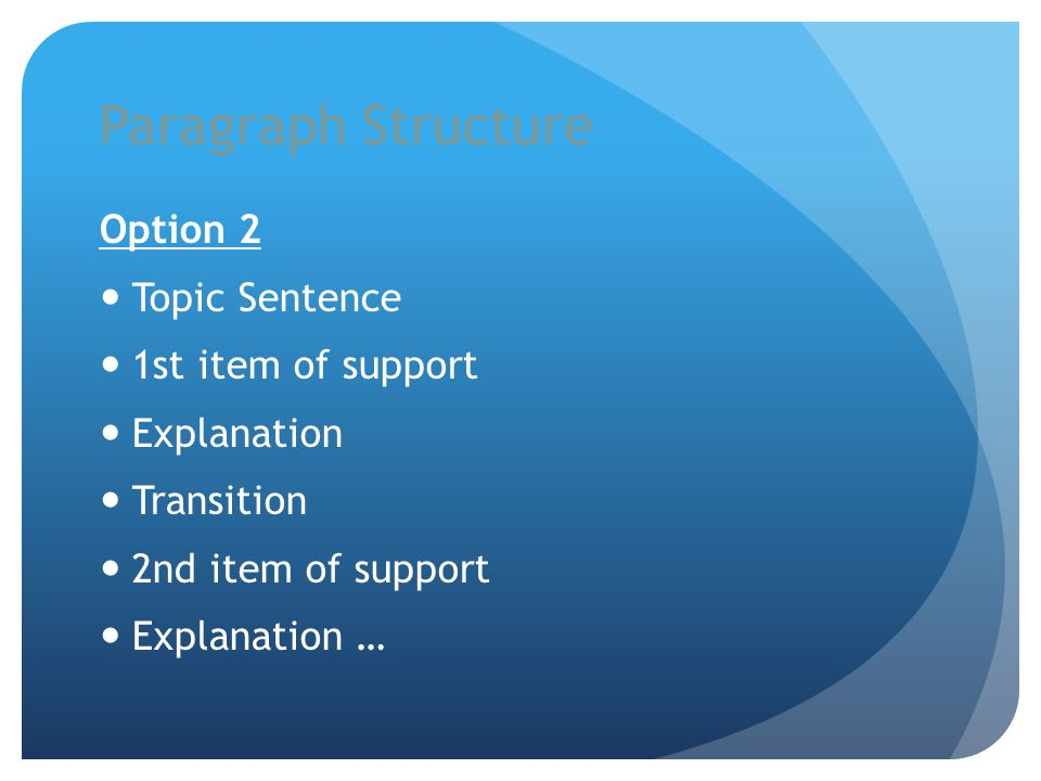 Paragraph Structure Option 2 Topic Sentence 1st item of support Explanation Transition 2nd item of support Explanation …