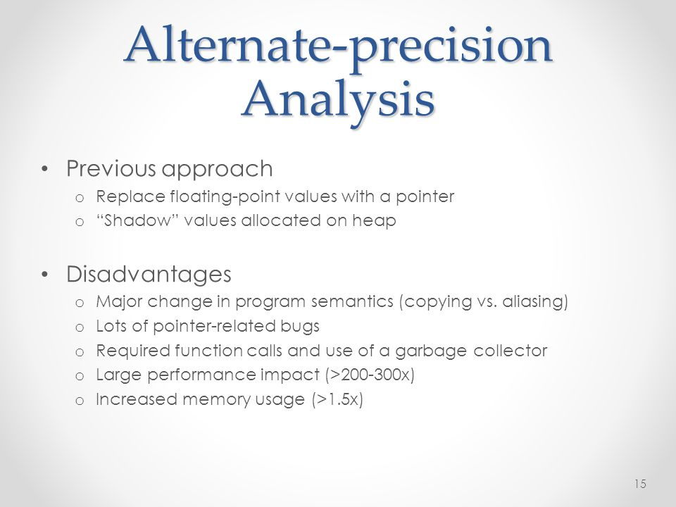 Alternate-precision Analysis Previous approach o Replace floating-point values with a pointer oShadow values allocated on heap Disadvantages o Major change in program semantics (copying vs.