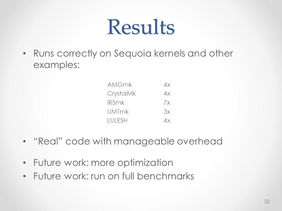Results Runs correctly on Sequoia kernels and other examples: AMGmk4x CrystalMk4x IRSmk7x UMTmk3x LULESH4x Real code with manageable overhead Future work: more optimization Future work: run on full benchmarks 22