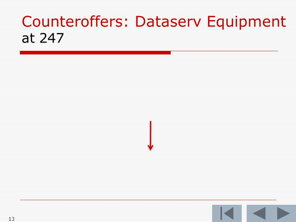 Counteroffers: Dataserv Equipment at