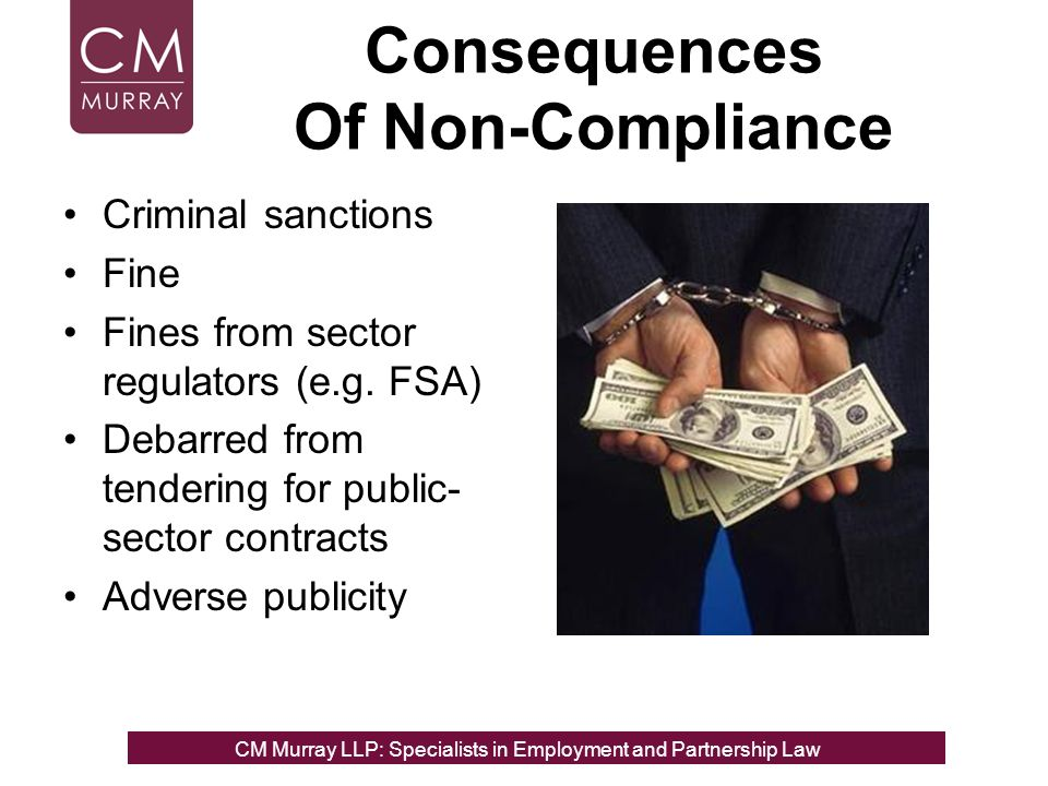 Consequences Of Non-Compliance Criminal sanctions Fine Fines from sector regulators (e.g.