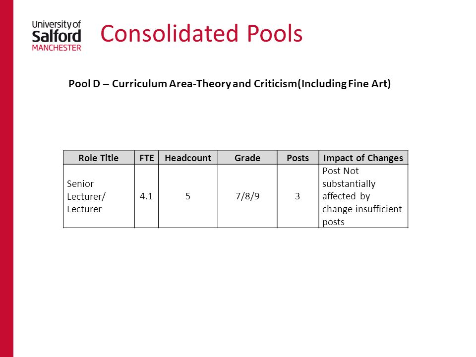 Consolidated Pools Role TitleFTEHeadcountGradePostsImpact of Changes Senior Lecturer/ Lecturer 4.157/8/93 Post Not substantially affected by change-insufficient posts Pool D – Curriculum Area-Theory and Criticism(Including Fine Art)