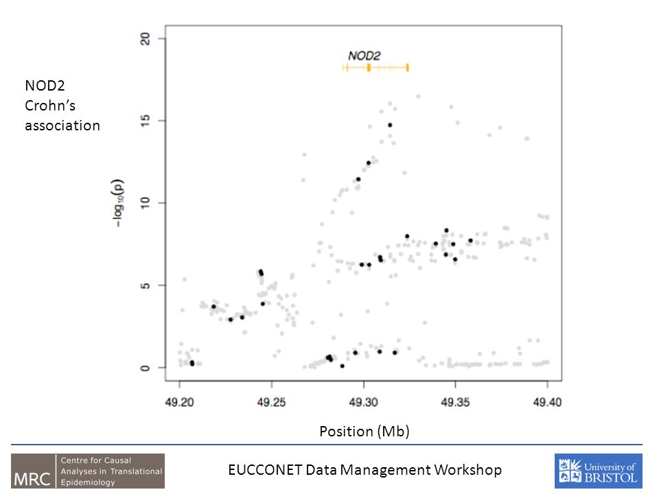 Position (Mb) EUCCONET Data Management Workshop NOD2 Crohns association