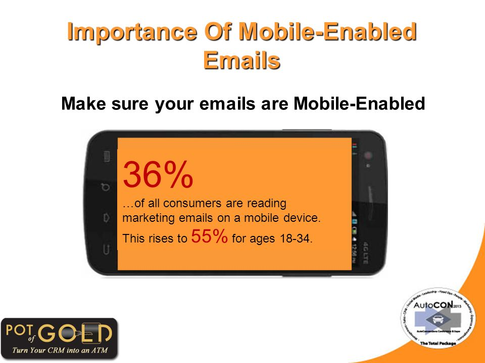 Importance Of Mobile-Enabled Emails Make sure your emails are Mobile-Enabled 36% …of all consumers are reading marketing emails on a mobile device.