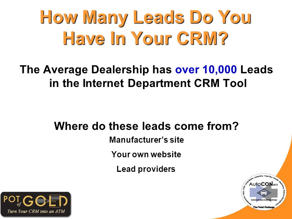 The Average Dealership has over 10,000 Leads in the Internet Department CRM Tool Where do these leads come from.