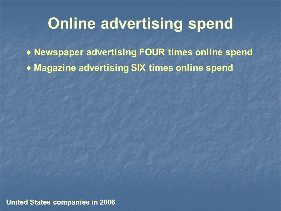 Online advertising spend Magazine advertising SIX times online spend Newspaper advertising FOUR times online spend United States companies in 2006